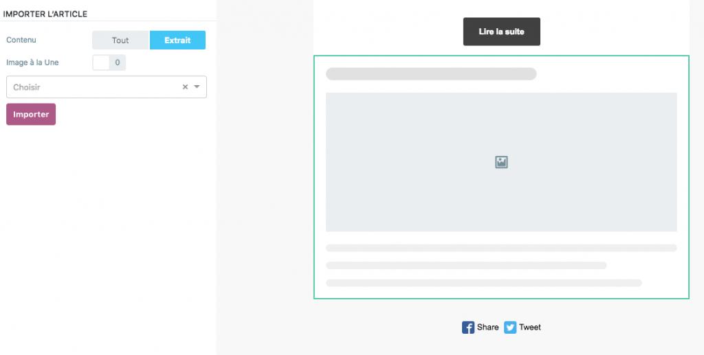 Importer ses articles WordPress directement dans la newsletter est possible.